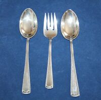 3 Piece Sterling Silver Large Serving Spoons & Fork Beaded Pattern Mallove's