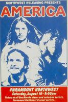 AMERICA 1974 ORIGINAL VINTAGE HOLIDAY TOUR SEATTLE CONCERT POSTER / NMT 2 MINT