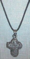 "Medieval Cross Locket MEN WOMEN KID Silver Tone Rope String 20"" Necklace USA"