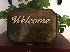 WELCOME - WALL MOUNT KEY HOLDER - 4 -HOOKS