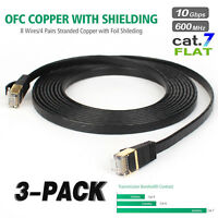 Cat7 26AWG Shielded (S/FTP) Ethernet Network Patch Cable, 3Pack 10ft 10Gbps