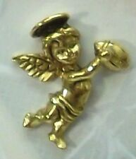 Guardian Angel Football Sports Lapel Pin in Antique Gold Plate, Made in USA, NEW
