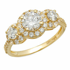 1.80 CT Halo Three Stone Round Cut Ring Engagement Wedding Band 14K Yellow Gold