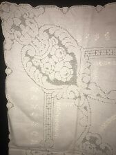 """Fab! Antique Victorian Era White Linen Hand Embroidery Small Tablecloth 34""""x 33"""""""