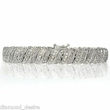 18K White Gold Natural Fancy Design Tennis Bracelet Lab Diamond in Brass