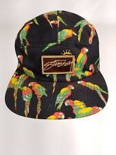 Stussy Patch Vtg Capz Strapback 5 Panel Straight Bill Jungle Parrot Hat RARE!