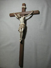 """13"""" Carved Wall Cross and Crucifix - Stained with Gold Edging - Good Friday"""