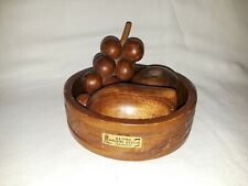 Vintage Hawaii Wooden Fruit Set & Wooden Bowl Waikiki Beach