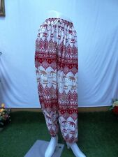 Hippie Harem Boho Yoga  Elephant Red Pants Long Cotton Blend M-L Handmade.