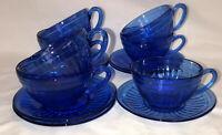 7 Hazel Atlas AURORA COBALT BLUE* CUPS & SAUCERS*