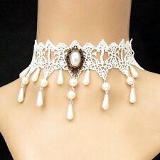 Chocker bianco Gotico A punta Collana Di Perle Victorian Barocco