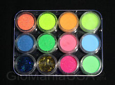 Nail Art Glitter Neon with Visible Glow in the Dark Powder Pigment + Stars,Moons