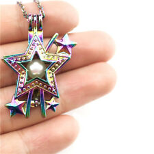 """C610 Multi Color Star Pearl Cage Locket Necklace Stainless Steel 18"""" Charm"""