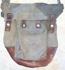 WWII SWEDISH MILITARY GAS MASK BAG POUCH CANVAS & LEATHER STAMPED FKA