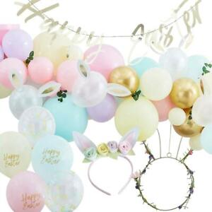 Pastel Easter Party Decorations | Balloons Kids Headband Foliage Bunting