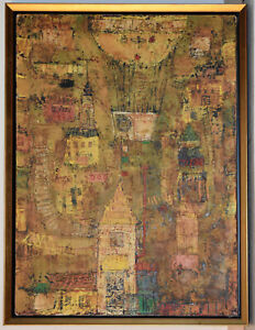 LIsted Japanese Artist GIKO HAYAKAWA, Large Original Painting On Canvas Signed