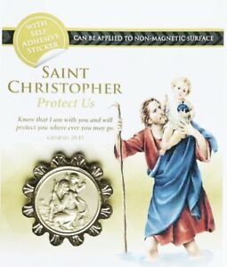 ST SAINT CHRISTOPHER CAR BADGE - Magnetic / Self Adhesive Silver Colour Plaque