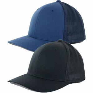 "Flexfit ""Mesh Trucker"" Precurved Hat Men's Blank Stretch Black Navy Uniform Cap"