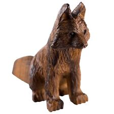 "Hand Carved Wood Wooden Ironwood Fox Sitting Figurine 5"" Long"