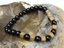 Natural Gemstone Elasticated bracelet 8mm BLACK AGATE, SQUARE JASPER beads