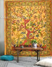 Tree of Life Tapestry Yellow Color Queen Large Size Wall Hanging Tie Dyed Decor
