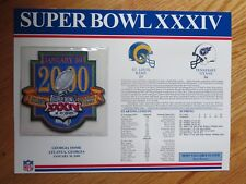 "Super Bowl XXXIV ST LOUIS RAMS vs TENNESSEE TITANS  6"" Patch KURT WARNER MVP"