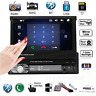"Single 1DIN 7"" HD Flip Up Touch Bluetooth Car Stereo Radio MP5 MP3 Player FM/USB"