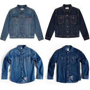 Mens Designer Wrangler Classic Casual Trucker Western Denim Shirt Jacket