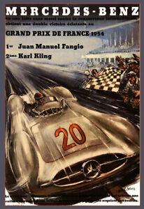 Mercedes Benz  Grand Prix DItalie 1954  Car German Race Auto Poster Print