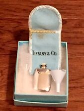Tiffany & Co Sterling Silver Flask With Funnel, Pouch And Original Box