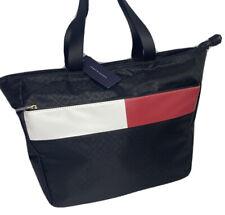 Tommy Hilfiger Tote Bag Shopper Handbag Flag Color Block TH Logo Black NWT $128