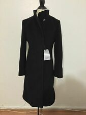 NWT Women's CINZIA ROCCA Stand Collar Wool Coat Style # 6N2300D3, Size 4, Black
