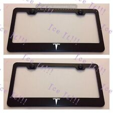 2X Tesla Logo Stainless Steel Black License Plate Frame Rust Free W/ Bolt Caps