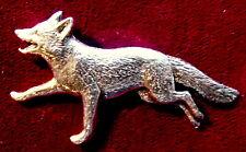 Pewter Fox Hunting Running Fox Brooch Pin Quality