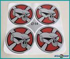 4x Silicone Sticker Skull ∅= 54mm for Hub Caps Emblems Sticker NEW