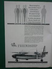 9/1962 PUB FOKKER AIRCRAFT HOLLAND FOKKER FRIENDSHIP ORIGINAL GERMAN AD