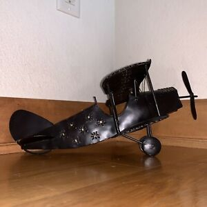 Vintage Bi-Wing WWI Replica Single Engine Fighter Plane Airplane Model 14x12x5""