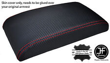 RED STITCH CARBON FIBER VINYL ARMREST LID COVER FOR FORD FIESTA MK9 2013-2016