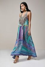 new CAMILLA FRANKS SILK SWAROVSKI OTTOMAN SKY RACER BACK KAFTAN DRESS