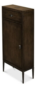 "38"" T Cabinet Artisan Grey MDF with Oak Wood Veneer Hammered Textured Metal"