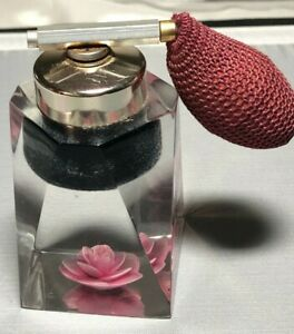 Vintage Rose Embedded Lucite Perfume Atomizer