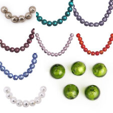 10mm 10pcs Round Silver Foil Inside Lampwork Glass Loose Spacer Beads DIY Gifts