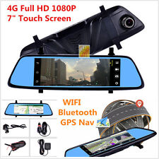 """4G 7"""" Touch Remote Monitor Rearview Mirror WIFI Bluetooth GPS Nav Camera Car DVR"""