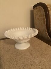 "WESTMORELAND BRAMBLE MAPLE LEAF MILK GLASS FOOTED 7"" COMPOTE/BOWL RUFFLED RIM"