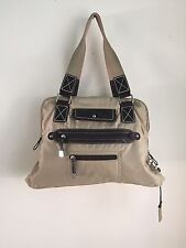 GIANI BERNINI PURSE- Beige & Brown Polyester/ Faux Leather 3 Divides w Zippers