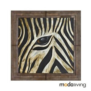 New Hand Painted Oil Painting Metal Zabra on Pallet Wood Wall Art Decor Animal