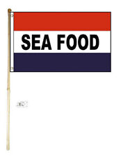 5' Wood Flag Pole Kit Wall Mount Bracket With 3x5 Seafood RWB Polyester Flag