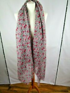 Grey red and pink patterned long scarf .Neckwear/accessory/fashion/style