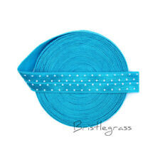 "5 Yard 5/8"" Polka Dot Print Turquoise Fold Over Elastic Spandex Band Sewing Trim"