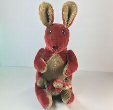 "Vintage Handmade Burgundy Kangaroo With Baby Joey Plush 10.5"""